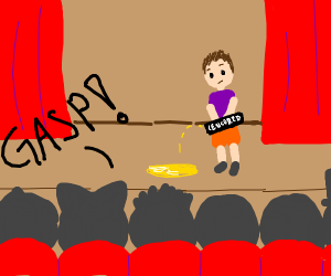 Man relieving himself on a stage