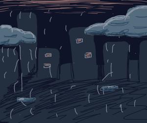 A city in the rain