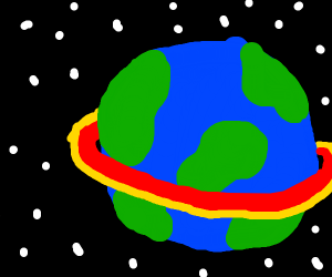 Earth with Saturn rings