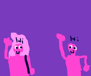 weird pink superhero sees a pink man