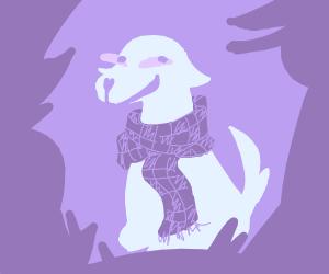 Labrador wearing a skarf