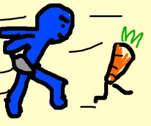 Blue man cutting carrots