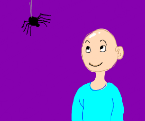A bald man smiling at a spider