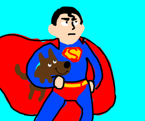 superman clutches dog
