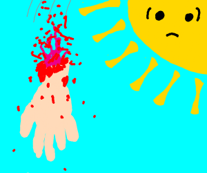 Severed hand falling in front of shook sun