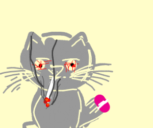Druggie cat holds a drug pill