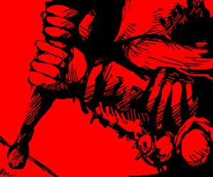 Strong hands holding a baseball bat