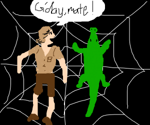 Steve Irwin stuck in a web with a croc