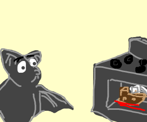 a bat watches a small boat roast in the oven