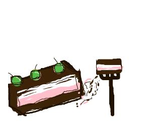 Chocolate ice cream sandwich with berries