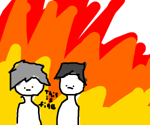 Two guys stand in a fire