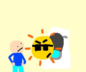 sun is blocking the toilet