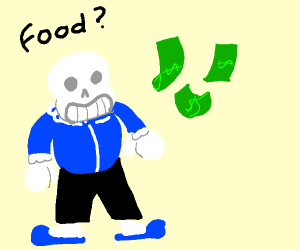 sans wants to eat money?
