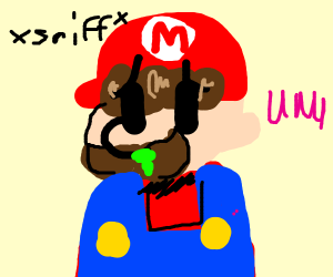 Mario with the sniffles