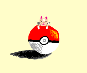 small cat sitting on huge pokéball