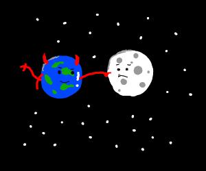 Devil Earth pokes the Moon