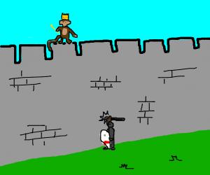 Knight knocking on monkey king's wall.