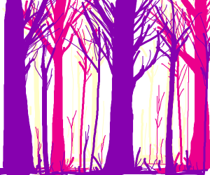 A neon purple tree trunk