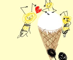Bees love ice cream