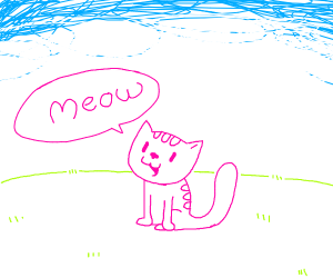 Cute little cat says meow in meadow