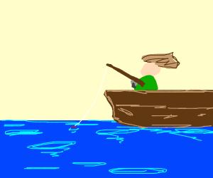 Vietnam soldier goes fishing on raft