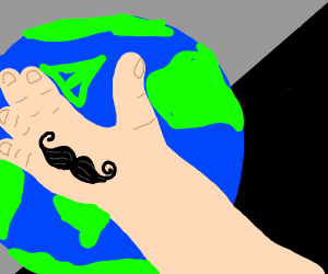 gaint hand with mustace over the earth