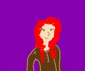 Red-haired green-eyed Scottish girl