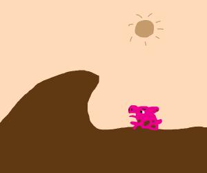 A pig drowning in poop/mud