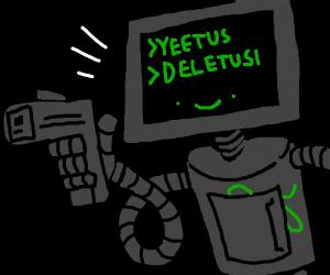 "Robot has a glock, says ""yeetus deletus"""