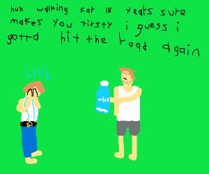 Dad is drinking milk again