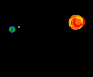 the earth and the moon from far away