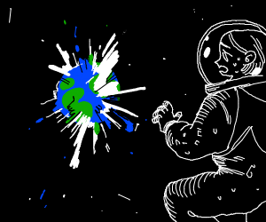 astronaut in space watching earth explode