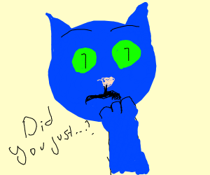 Blue cat gets triggered