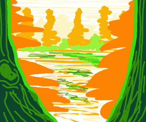 Peaceful orange and green forest :)