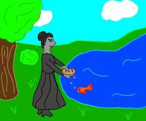 grey lady feeds fish