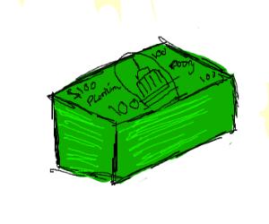 Stack of dollars diagonal, no background, big