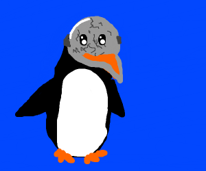 Penguin wears skull mask
