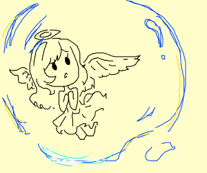 Angel/Devil girl in a bubble