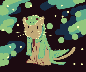 Cat in lizard costume