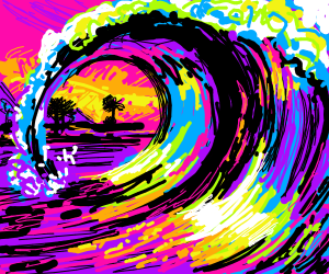 a very colorful wave in the sunset
