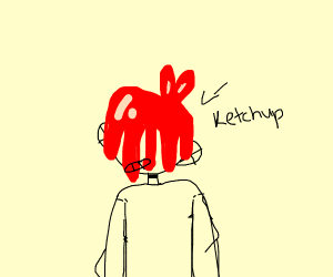 Ketchup On Boy's Head