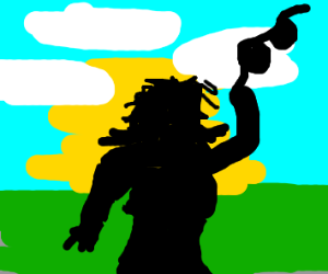 Silhouette of a women taking her bra off