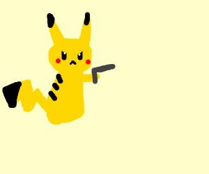 Pikachu holding a gun