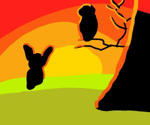 Rabbit and owl sillouhettes stare at sunset