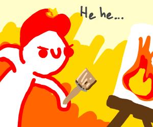 Evil fire man artist person
