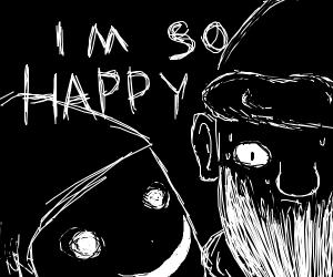 creepy looking elf tells santa he is happy