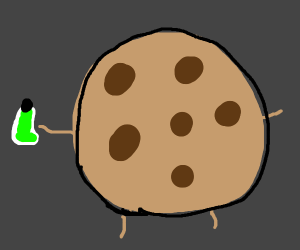 Cookie holding a green potion
