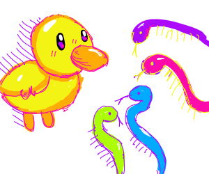 Colorful birds and neon snakes