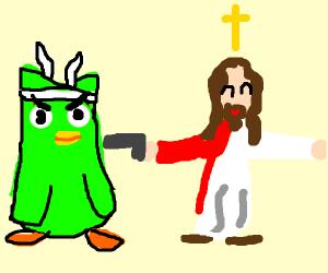 Duolingo bird x Jesus