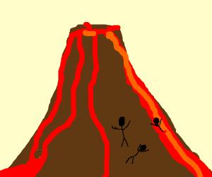 Volcano erupts near three people